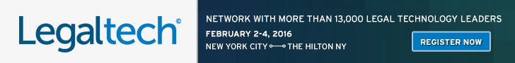 LegalTech NYC February 2-4, 2016